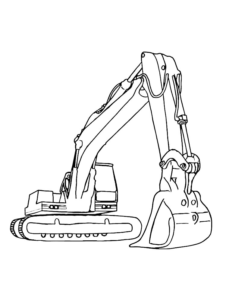 excavator coloring page to printable pdf