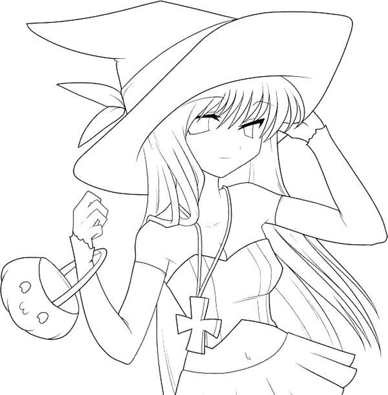 flying witch coloring pages