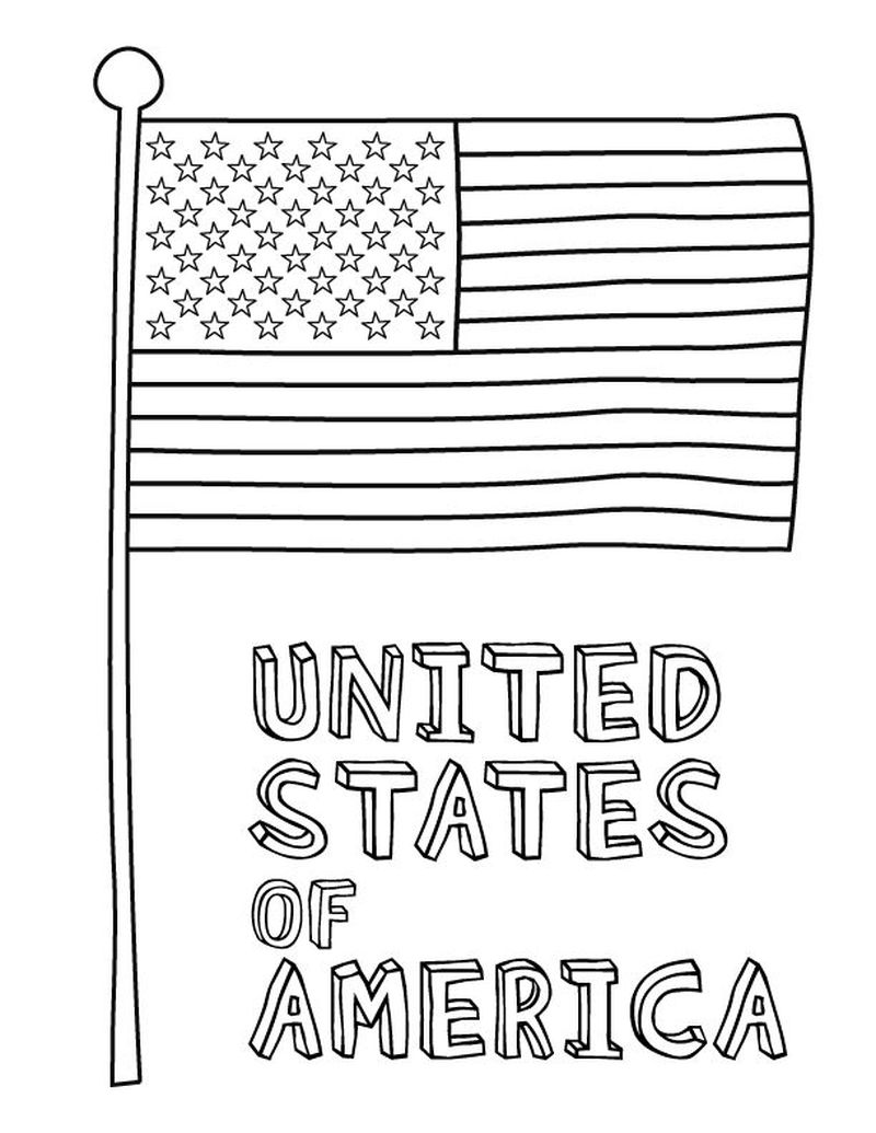 free american flag coloring page
