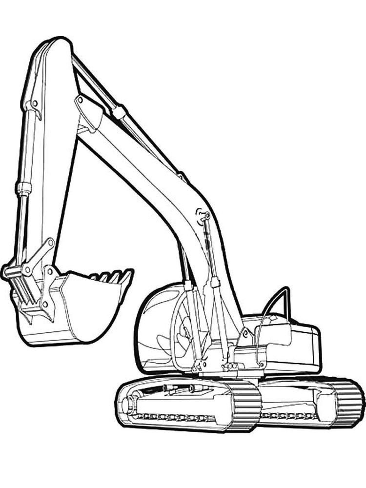 free excavator coloring pages print