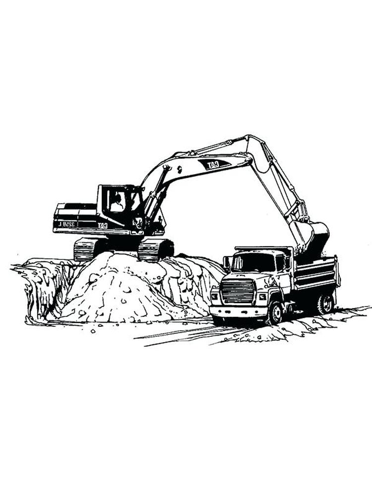 free excavator coloring pages to pdf
