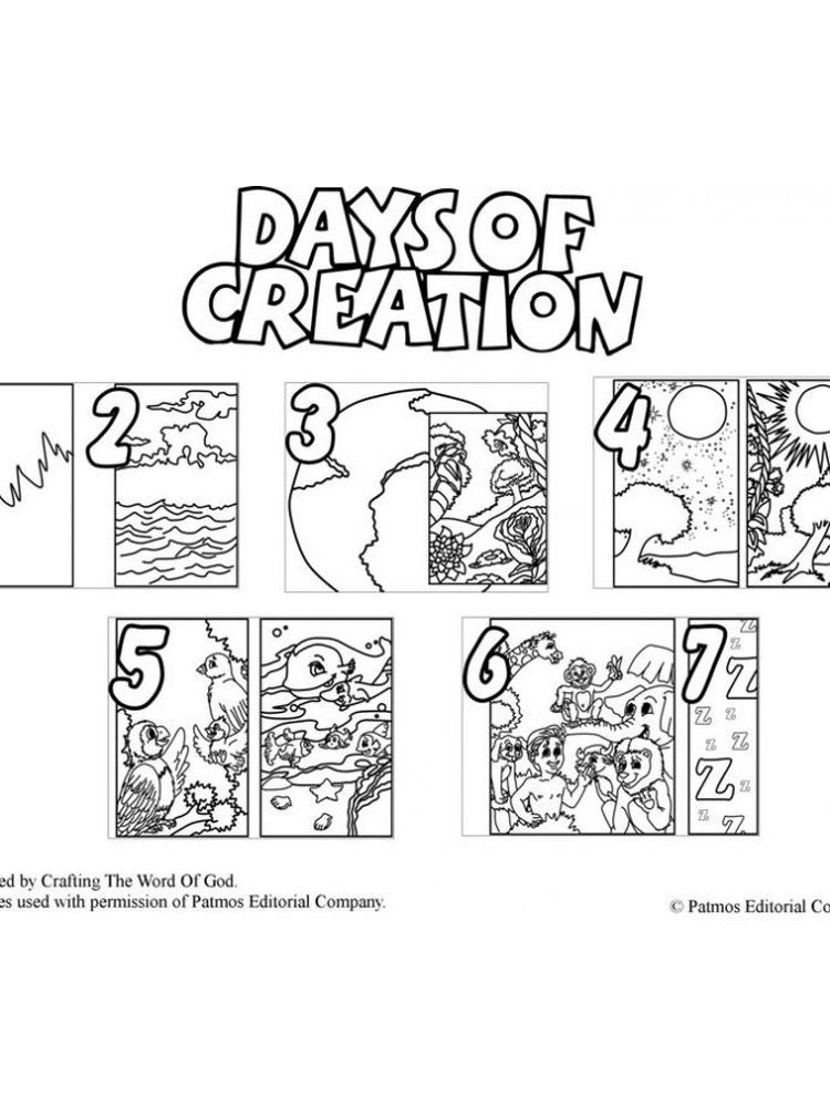 free printable 7 days of creation coloring pages pdf