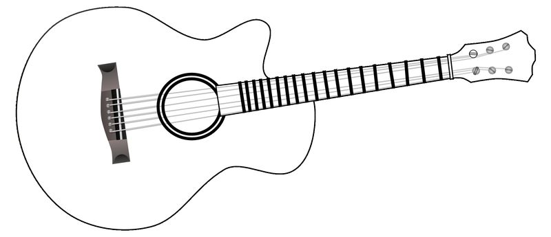guitar with face coloring page
