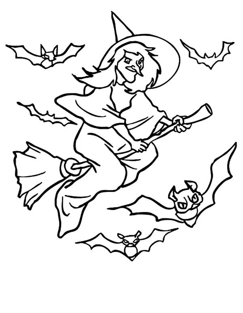 halloween coloring pages cute flying witch