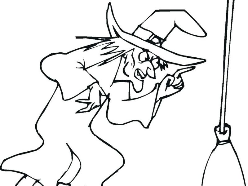 halloween coloring pages witch on a broom