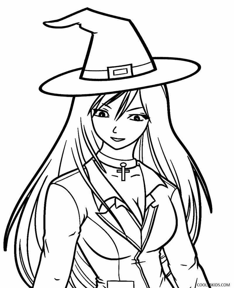 halloween witch coloring pages for kids Printable