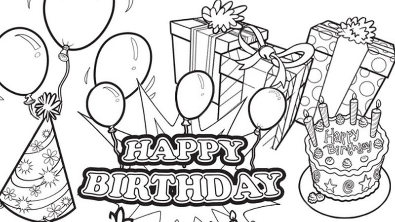 happy birthday coloring pages printable pdf