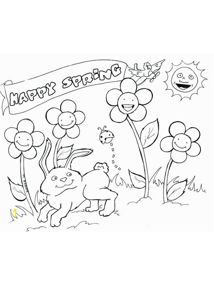 happy spring flowers coloring pages