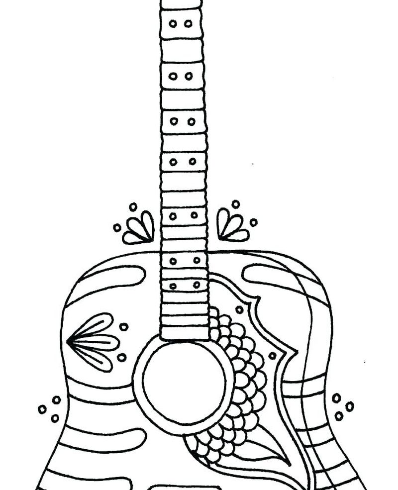 mexican guitar coloring page print