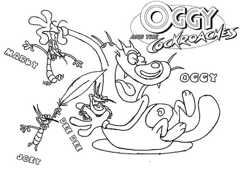 oggy and the cockroaches coloring pages to print