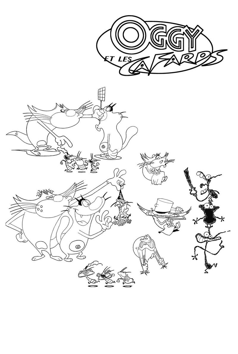 oggy and the cockroaches pictures for colouring