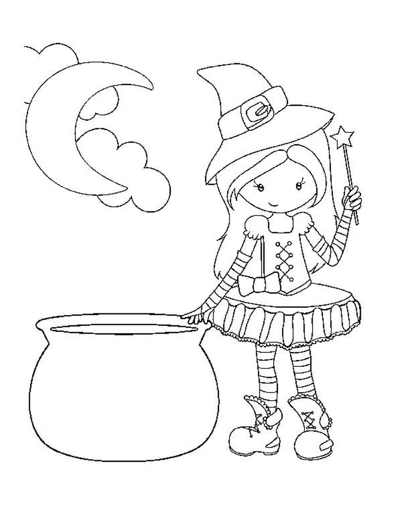pretty witch coloring pagesPrintable
