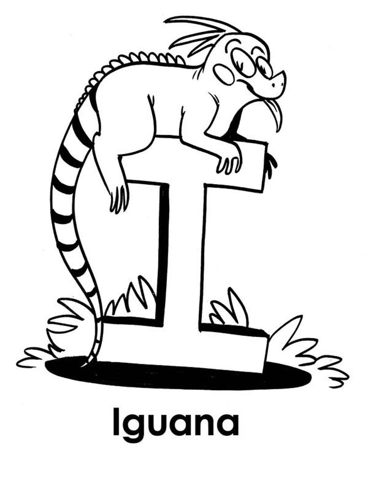printable I for Iguana coloring page print