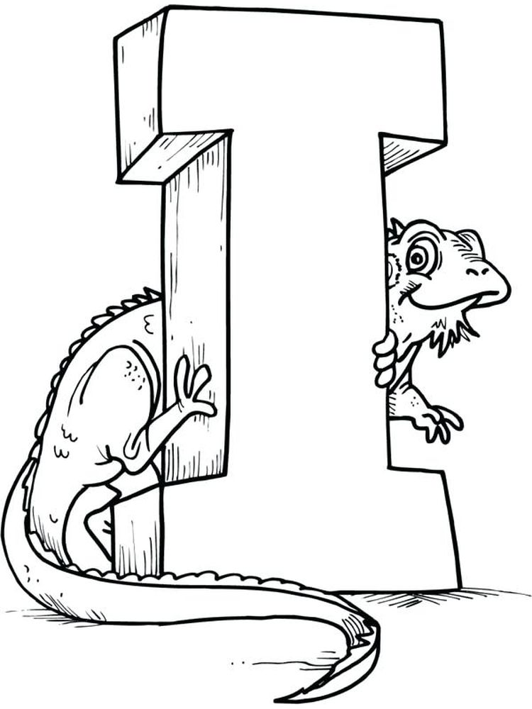 printable I for Iguana coloring pages