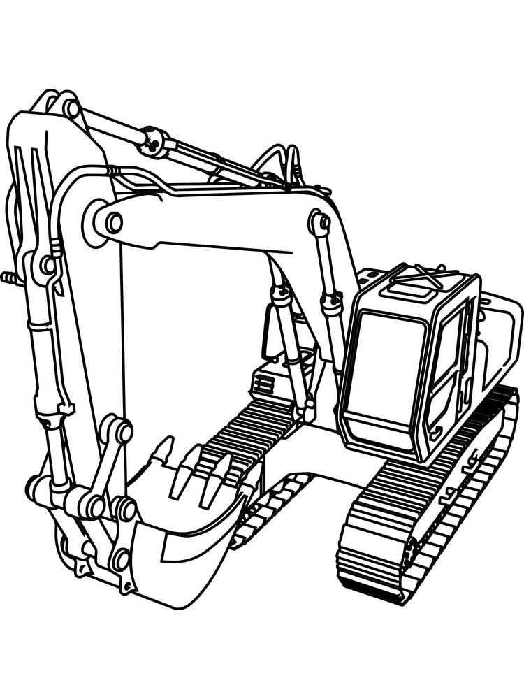 printable excavator coloring pages background