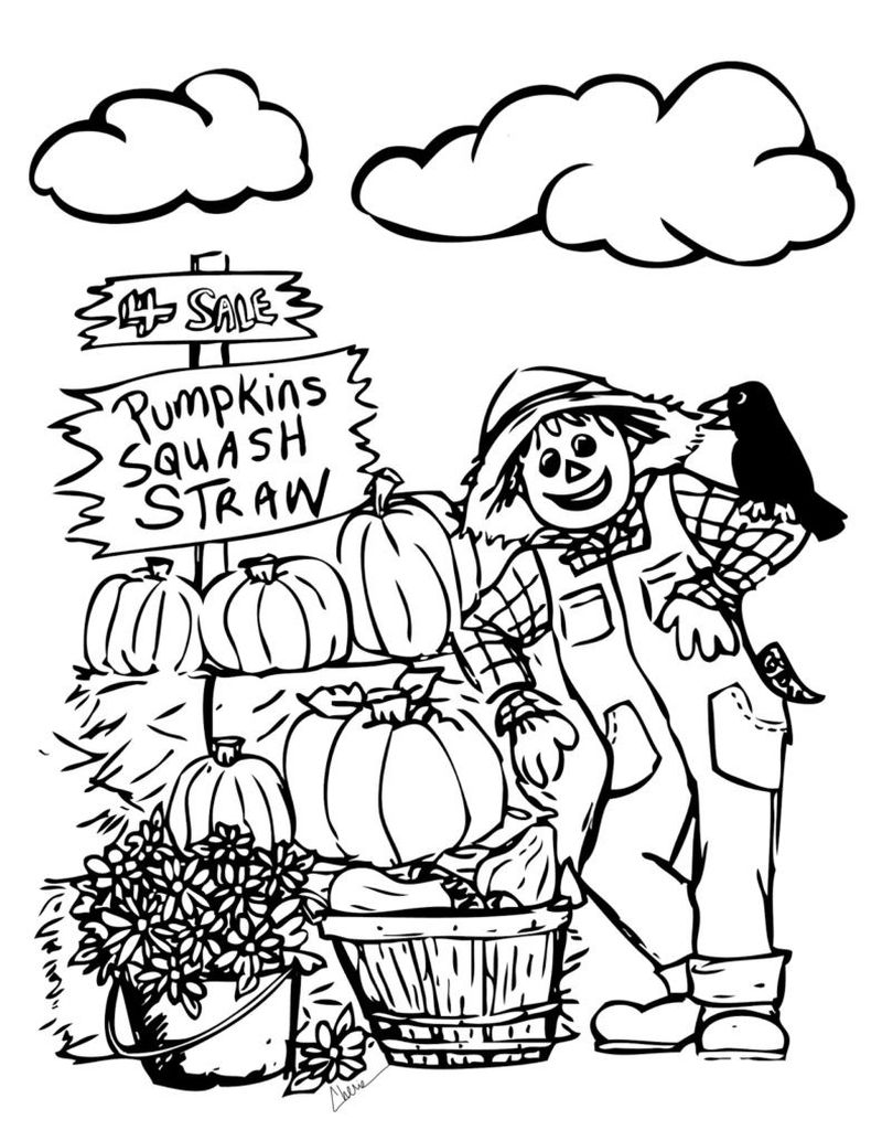 scarecrow coloring page for toddlers