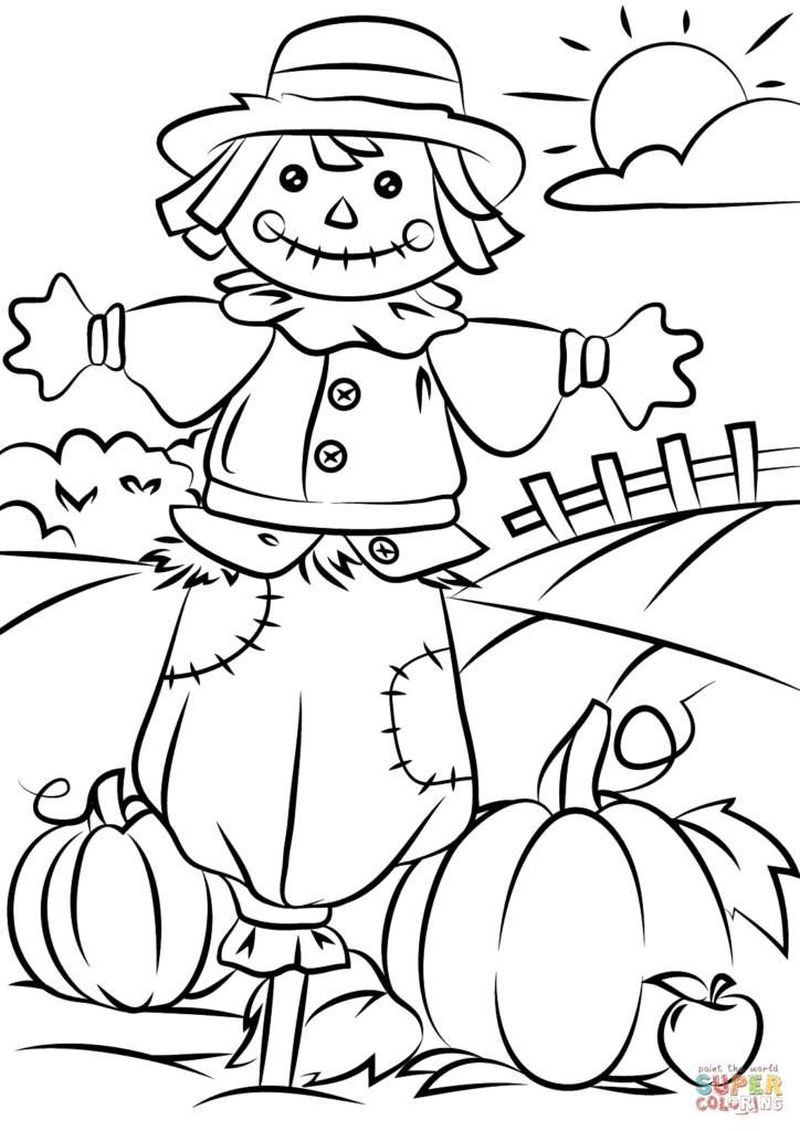 scarecrow coloring pages for toddlers print