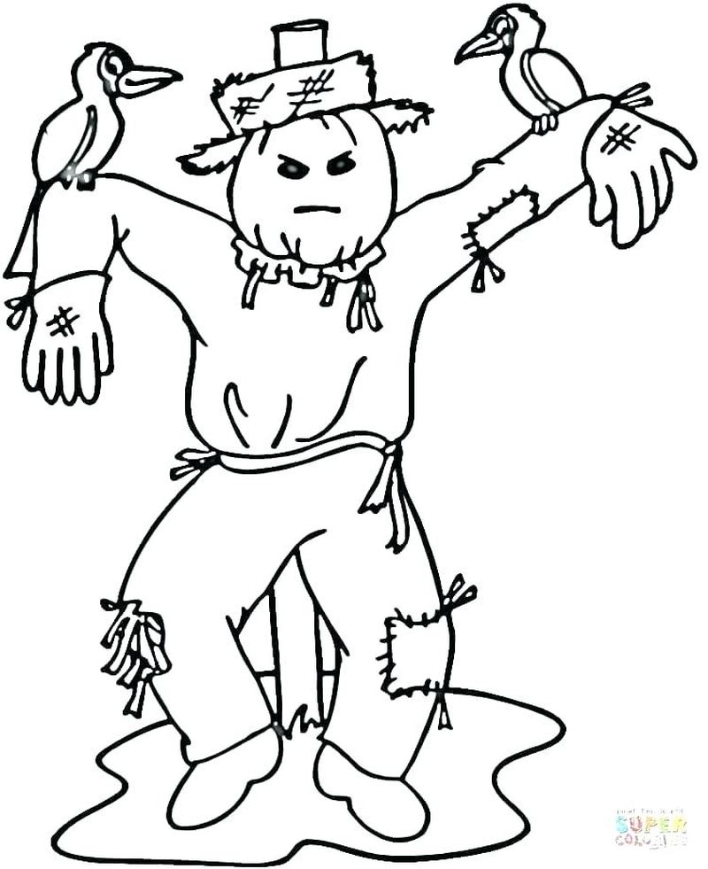scarecrow coloring pages printables