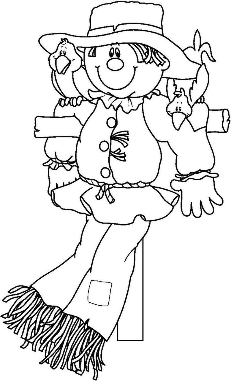 scarecrow coloring pages simple
