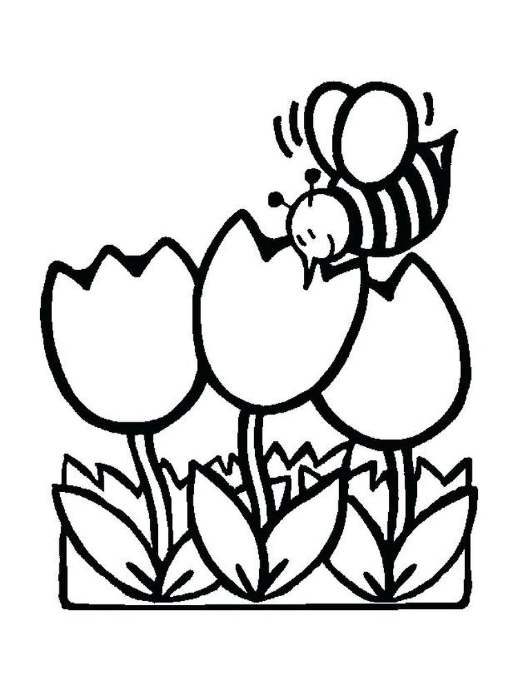 spring flower coloring pages for toddlers