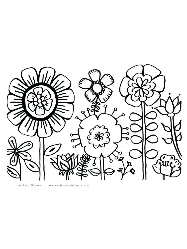 spring flower colouring pages