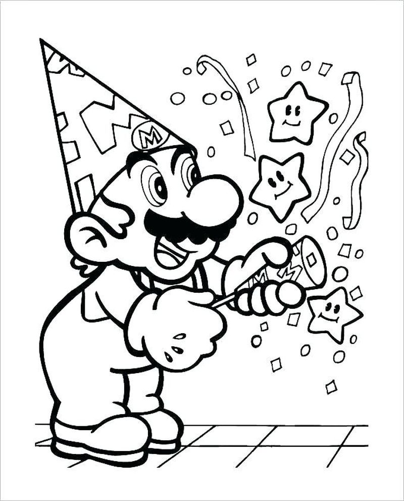 super mario coloring pages for kidsPrintable