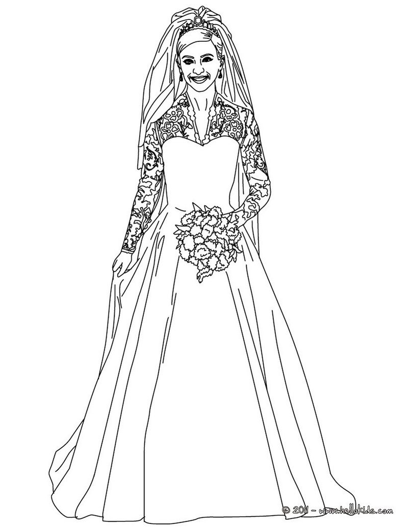 wedding barbie coloring pages