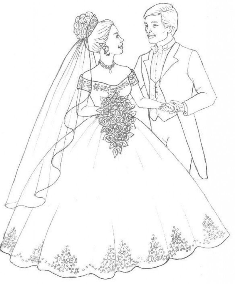 wedding coloring pages girls Printable