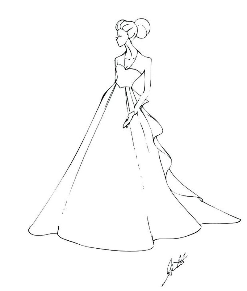 wedding dress coloring pages free