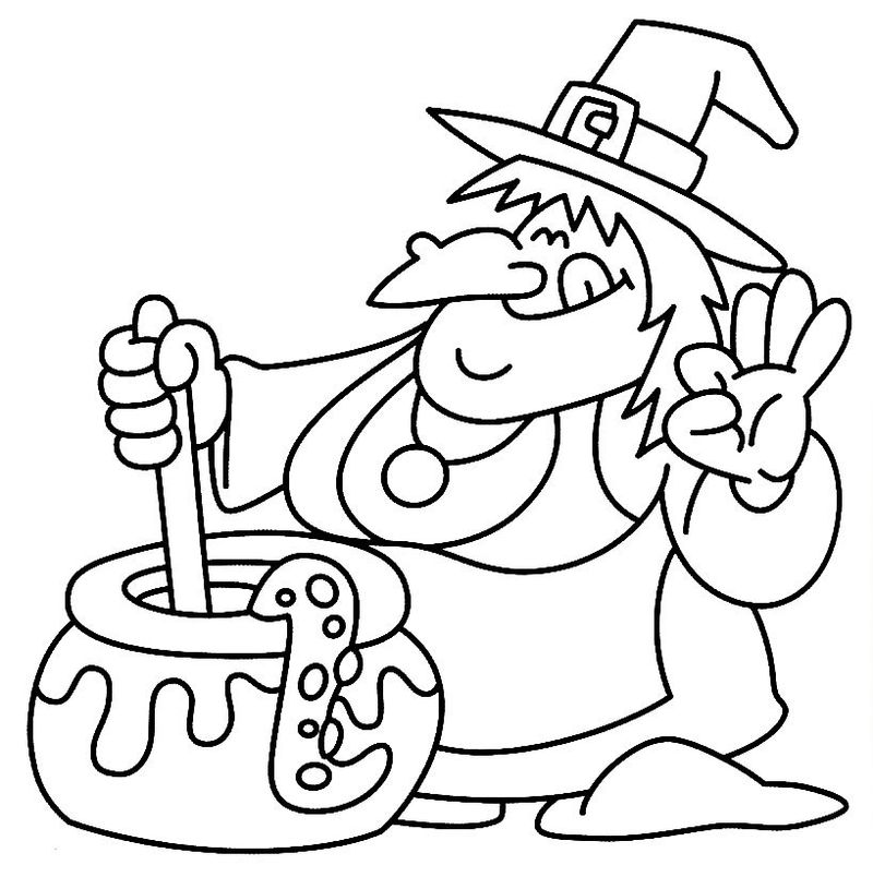 witch christmas coloring pages Printable