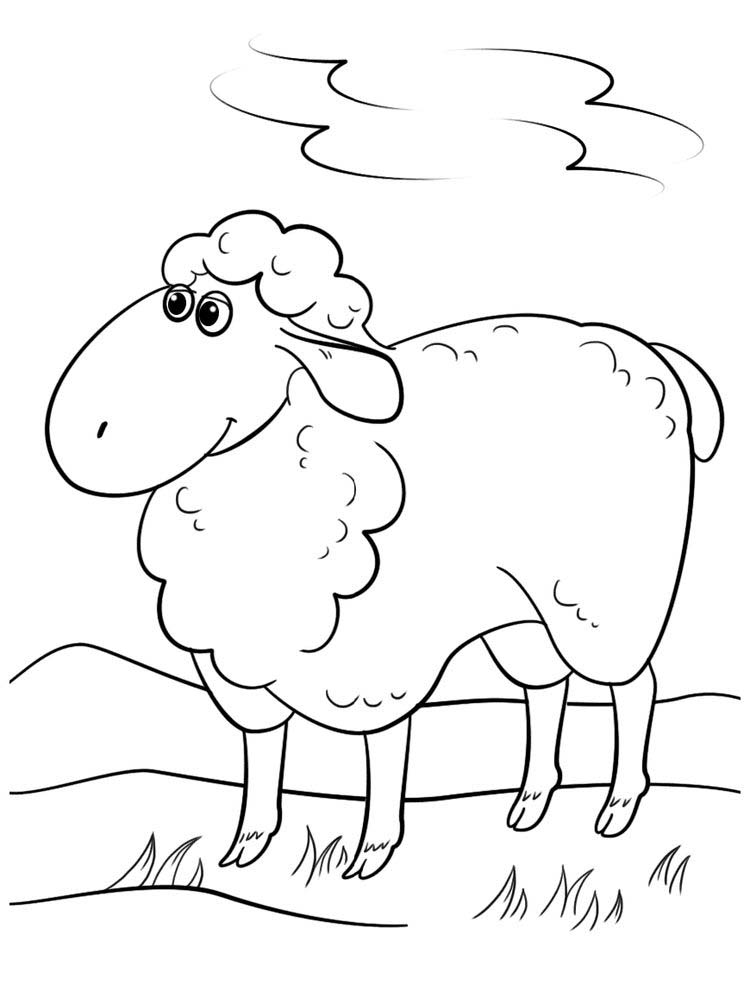 Printable Cartoon Sheep Coloring Pages