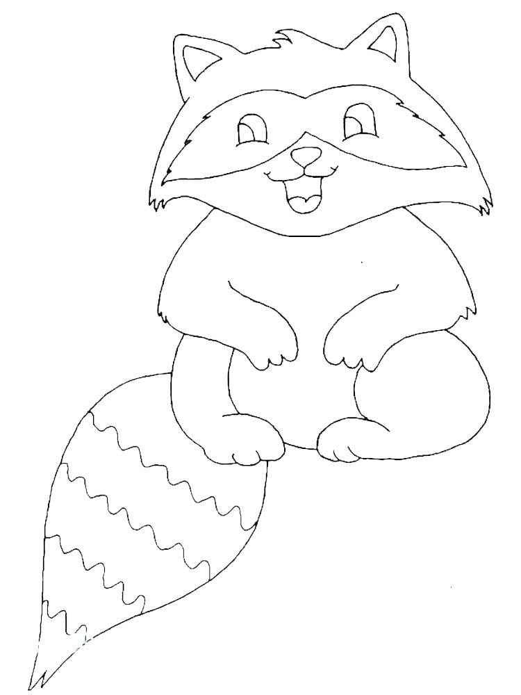Printable Christmas Raccoon Coloring Pages