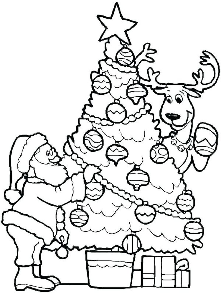 Printable Reindeer Coloring Page Cut Out