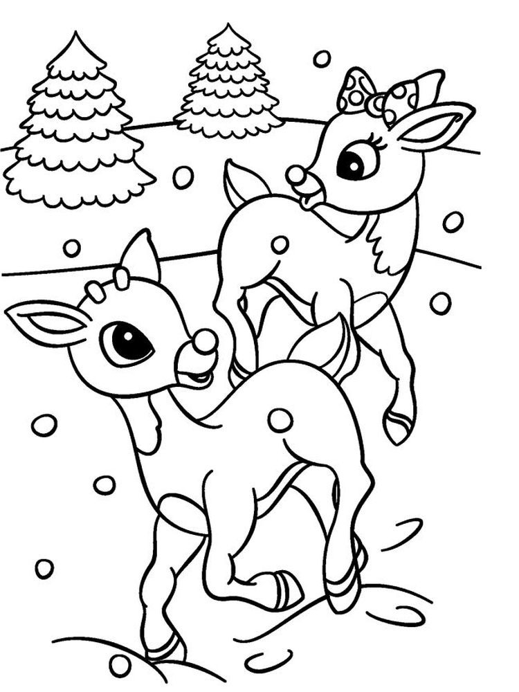 Printable Reindeer Coloring Pages Free