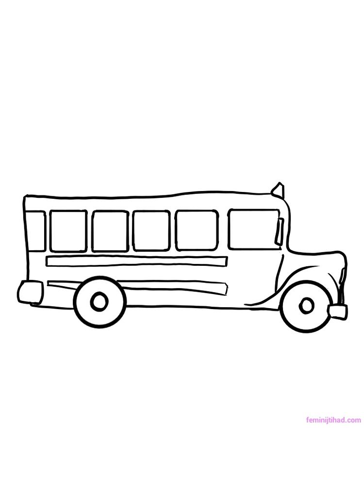 Printable School Bus Colouring Pages