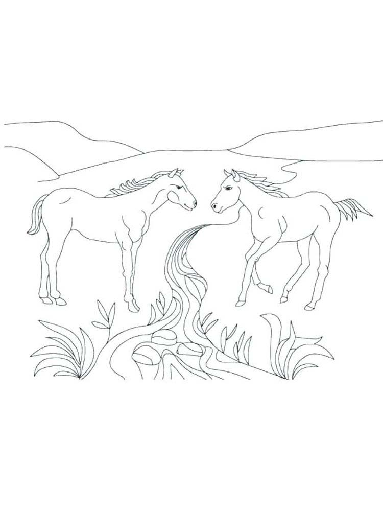 Printable image wild horse coloring pages