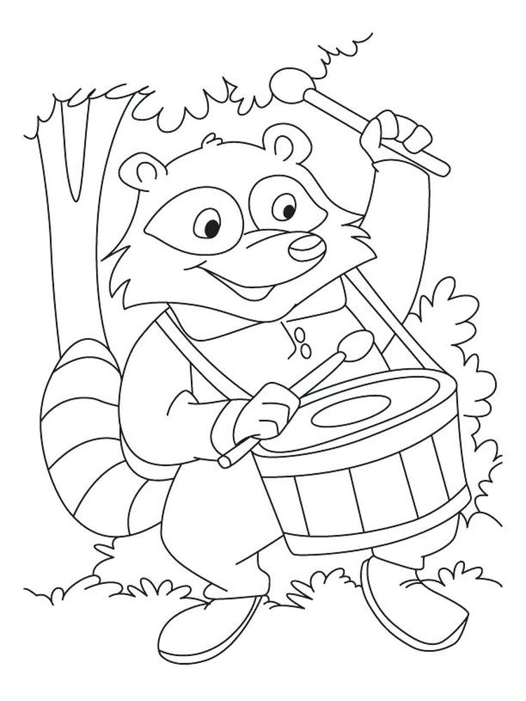 Printable raccoon coloring page image free