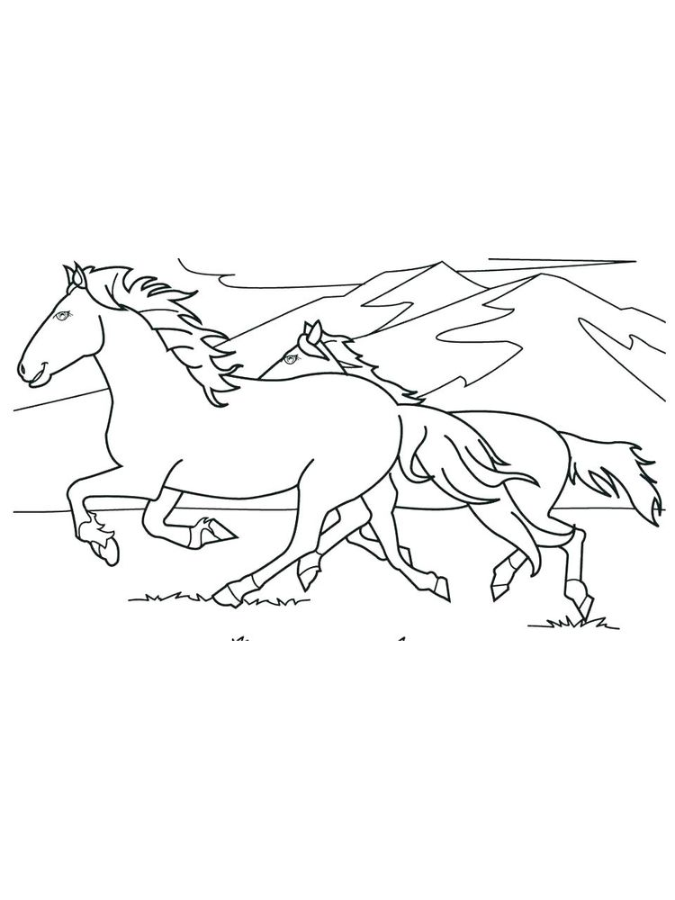 Printable wild horse coloring pages image