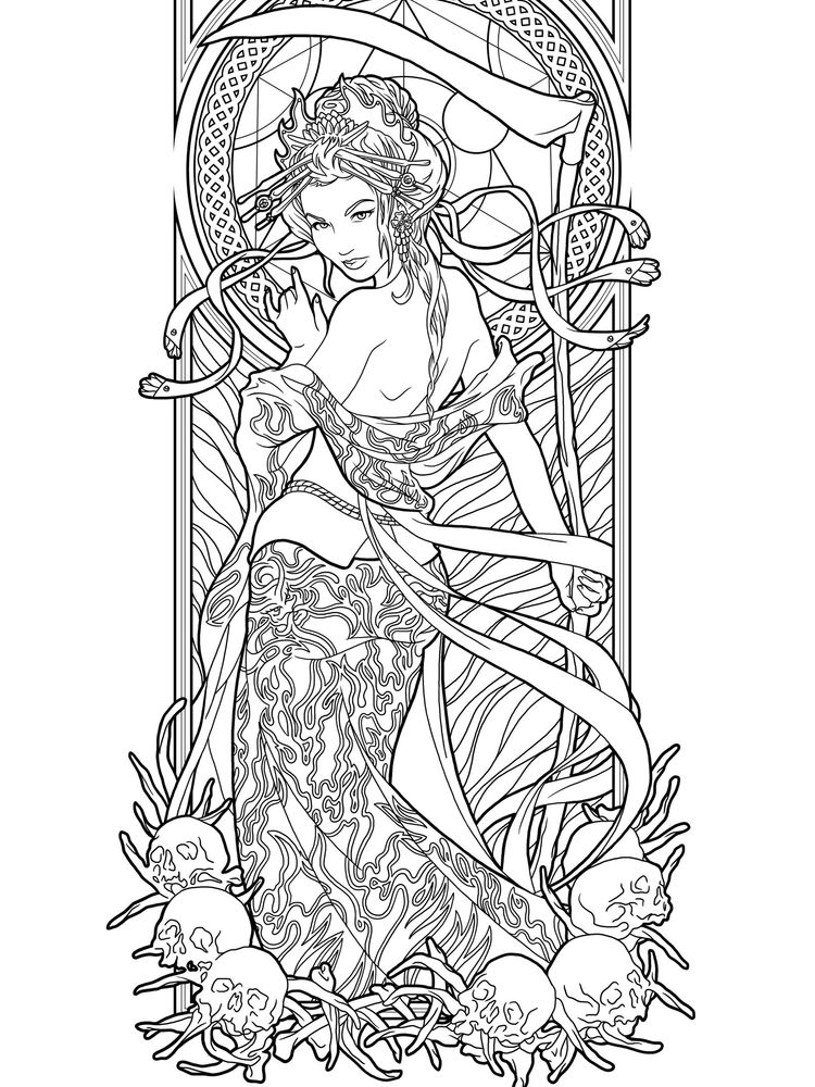 printable Free Gothic Coloring Pages