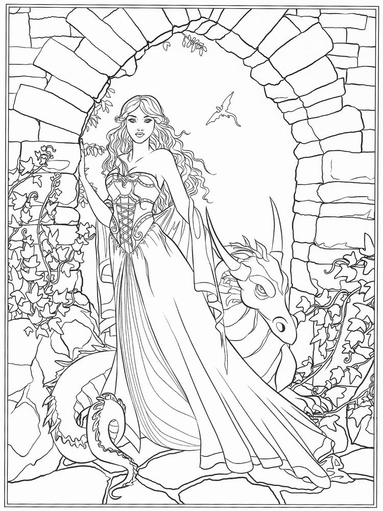 printable Gothic Fairy Coloring Pages