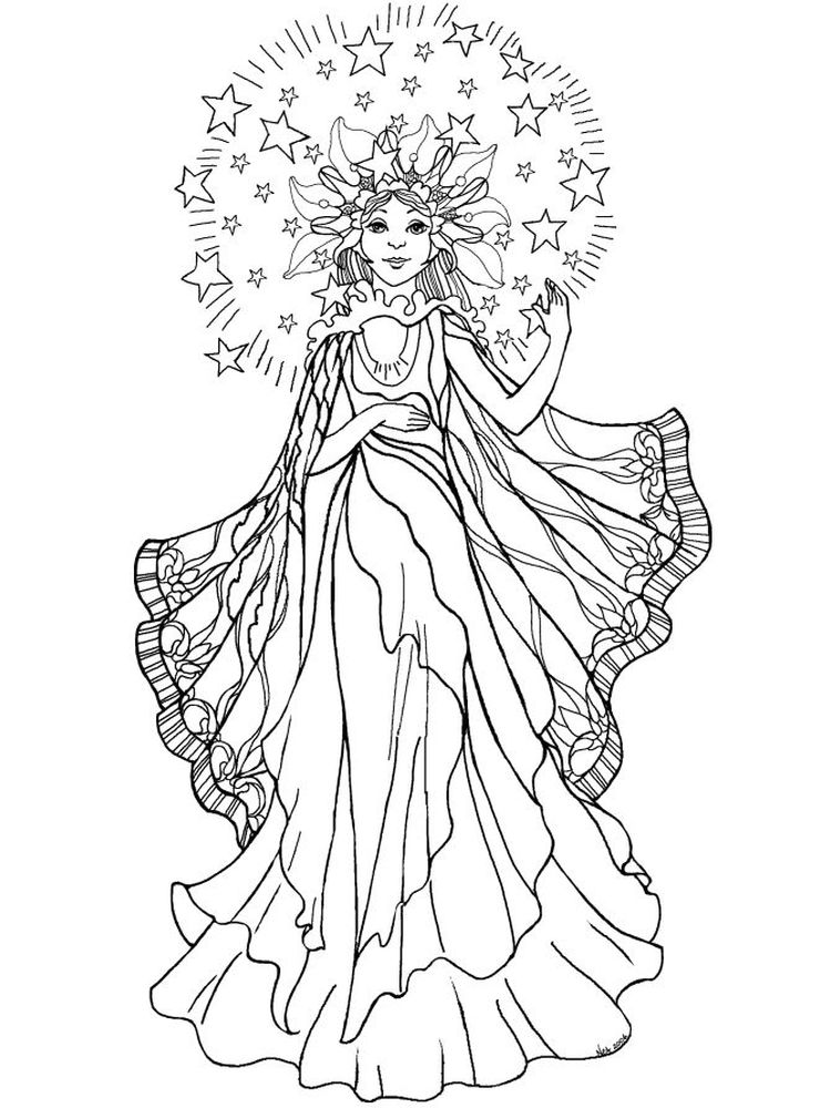 printable Gothic Girl Coloring Pages