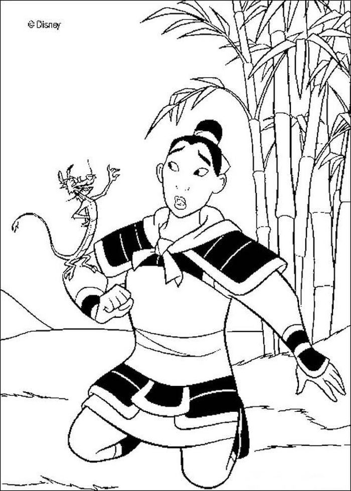 Printable Mulan Coloring Pages Of The Princesses