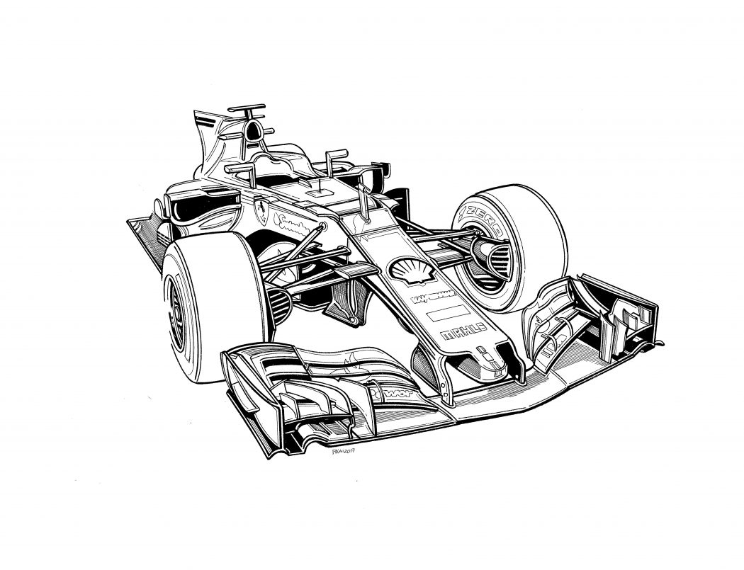 formula 1 car coloring pages free