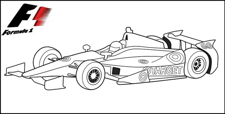 formula 1 car printable coloring page