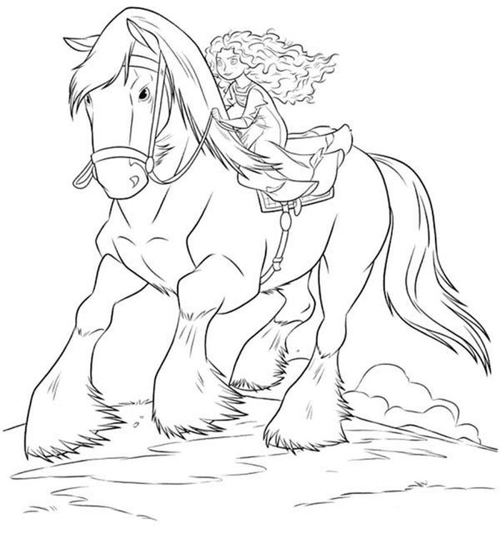 Download Merida With Horse Coloring Pages