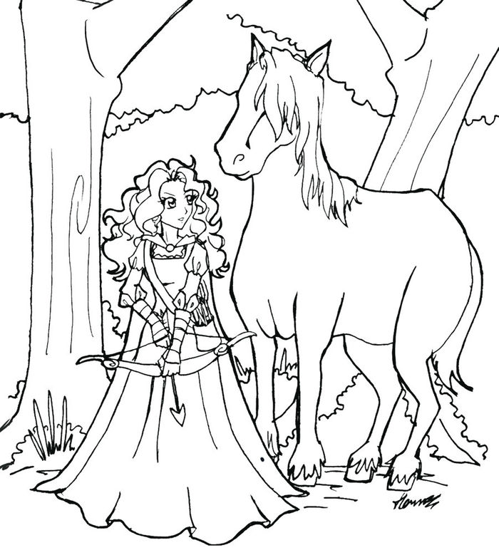 Download Young Merida Coloring Pages