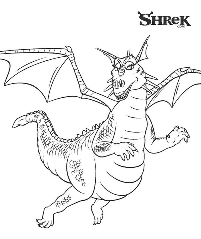 Printable Dragon From Shrek Coloring Pages
