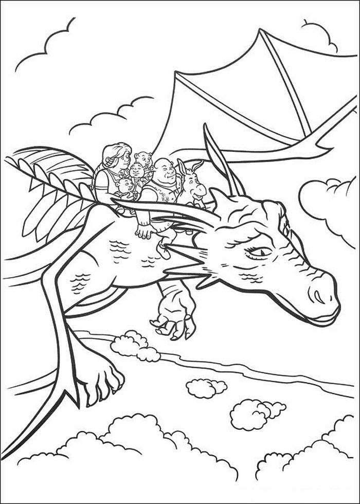 Printable Dragon Shrek Coloring Pages