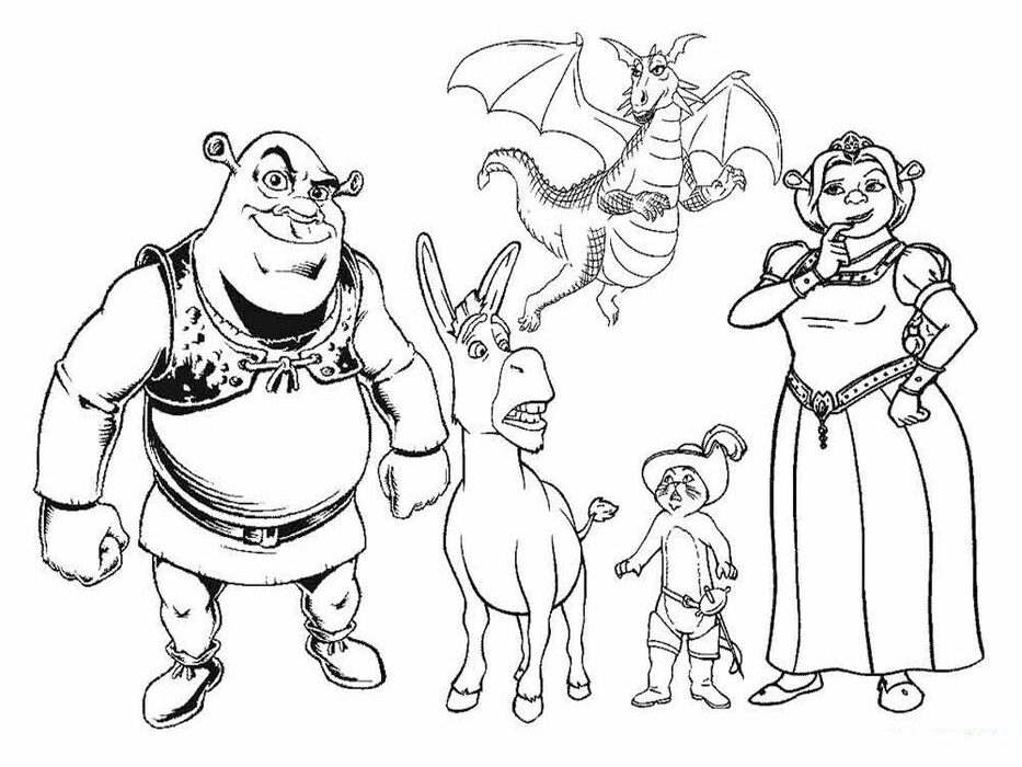 Printable Shrek And All Characters Coloring Pages