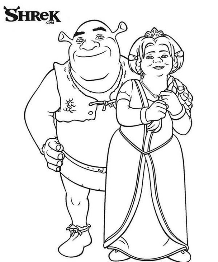 Printable Shrek And Fiona Black And White Coloring Pages